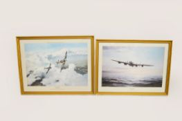 Two Robert Taylor aircraft prints: LIMPING HOME signed in pencil by Leonard Cheshire VC and DUEL OF