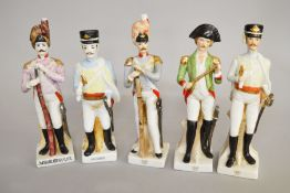 5 Ceramic soldier figurines including examples by Capodimonte