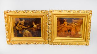 A pair of gilt-framed Crystoleums - the first depicting a group of Victorian children playing,
