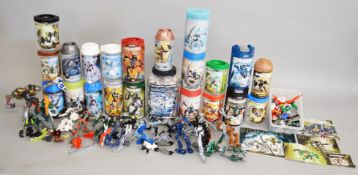 Twenty one opened packages for Lego Bionicle figures, some with contents,