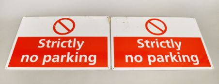 """2 steel """"Strictly No Parking"""" signs."""