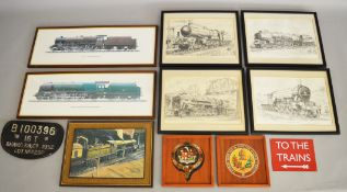 Six framed and glazed prints depicting various different locomotives including Duchess Class