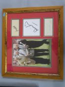 Sports signatures including Bobby Charlton, George Best and Denis Law with photo, framed,