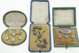 Three boxed sets of silver dress studs, one enamelled with no chips or cracks,
