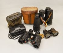 Selection of military and other binoculars.