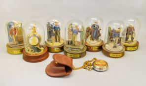 6 John Wayne collectable dioramas, together with 2 Franklin Mint collector's pocket watches.