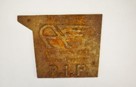 "A metal cast plaque for the closure of the Austin Foundry - "" 10.7."