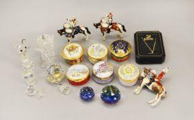 Mixed lot of Bilston Enamel pill boxes, Swarovski crystal ornaments etc.