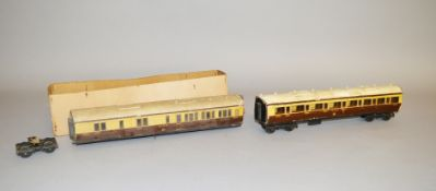 O Gauge. Two loose kit built GWR coaches, one in box base,with some damage/ missing parts.