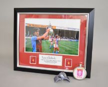 Aston Villa Football club Dennis Mortimer autograph in frame with photo of Dennis Mortimer holding