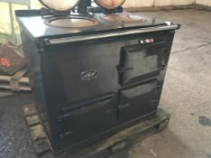 SMALL SIZED GAS POWERED AGA COOKER, 2 HOT PLATES, 2 OVENS
