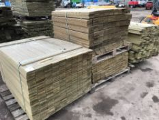 4NO PALLETS OF PREPARED ROUND EDGED FENCING SLATS 1.45M, 1.15M AND 1.75M LENGTH APPROX 95MM WIDTH