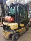 Yale glp25vx gas forklift year 2011 fitted with a full cab and side shift