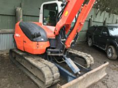 Kubota 080 8tonne excavator, yr2011, c/w red key 5359 REC HRS SN;23622 WHEN TESTED WAS SEEN TO DRIVE