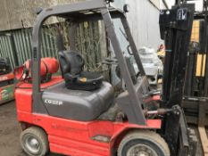 Manitou CG25P 2.5tonne gas forklift c/w container spec mast YEAR 2008 SN;851956 1994 REC HRS WHEN