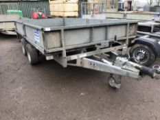 Ifor Williams LM126G twin axled 12ft plant trailer c/w drop sides SN;SCK600000Y0307137