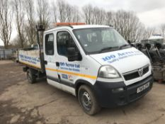 VAUXHALL MOVANO 3500CDTI DOUBLE CAB TIPPER YEAR 2009, REG:FN09ZPK TESTED TO FEB 2019. WHEN TESTED