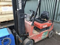 CLARK CTM12S BATTERY POWERED FORKLIFT C/W CHARGER SN:1450655GEF7102 WHEN TESTEDW AS SEEN TO DRIVE,