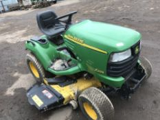 JOHN DEERE X495 DIESEL RIDE ON MOWER, YEAR 2003, HYDRAULIC LIFT DECK, WHEN TESTED WAS SEEN TO RUN,