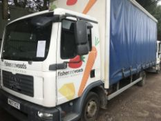 MAN 7.5T CURTAINSIDE LORRY WITH TAIL LIFT, REG. MX57 KCZ….sold under the Auctioneer's Margin Scheme,