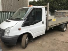 FORD TRANSIT TWIN WHEELED DROPSIDE TRUCK, COMES WITH TAIL LIFT. REGISTRATION: RJ13KXL, 144277