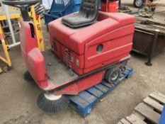 Eureka gas powered ride-on sweeper