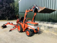 Kubota B1502 4wd Compact tractor with 4:1 front loader & rear backhoe (c/w 2 bkts), 20hp