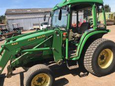John Deere 4600 4wd Compact tractor with JD460 loader & bucket, turf tyres