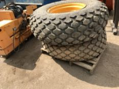 Pair of JCB 926 grass wheels and tyres