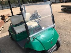 YAMAHA PETROL ENGINED GOLF BUGGY...WITH KEY...WHEN TESTED WAS SEEN TO DRIVE, STEER AND BRAKE