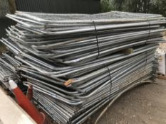 145 APPROX HERAS TYPE MESH SITE FENCE PANELS, COMES WITH 6X PALLETS OF BASES/FEET