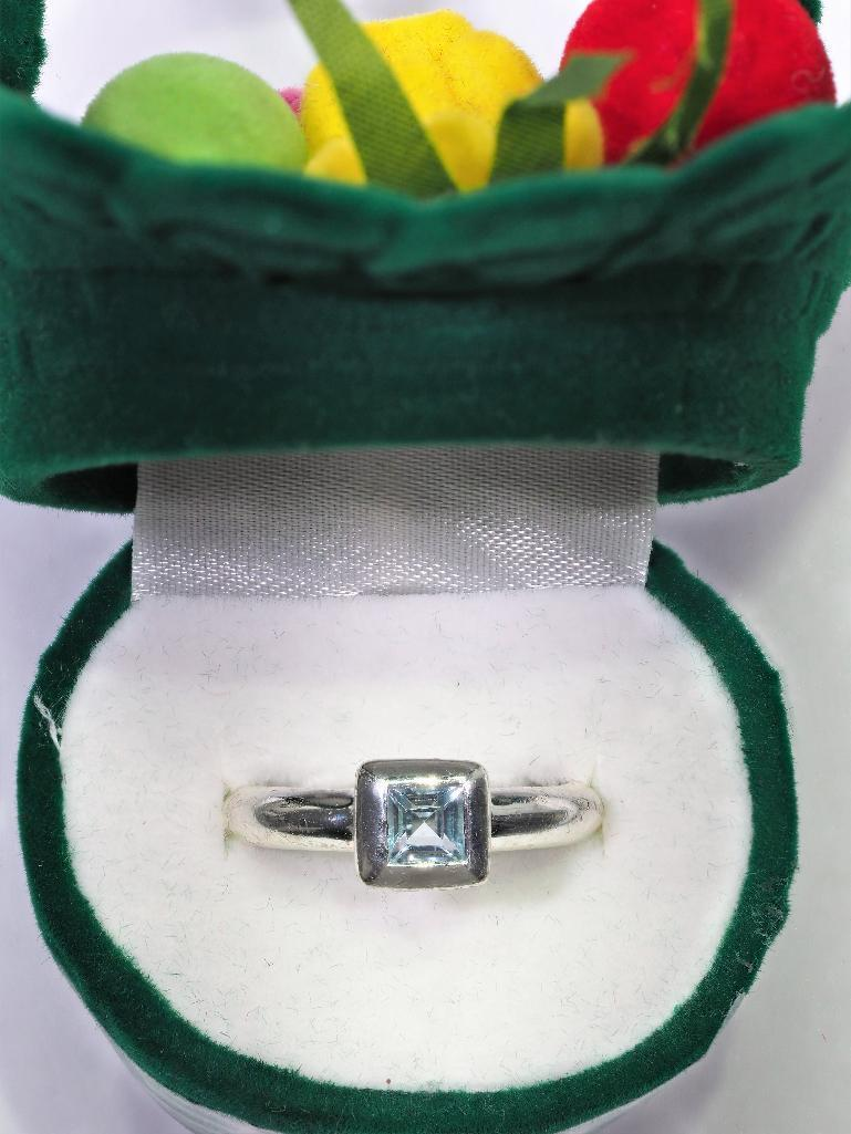Lot 4 - Sterling Silver Ring With Genuine Blue Topaz, Retail $160