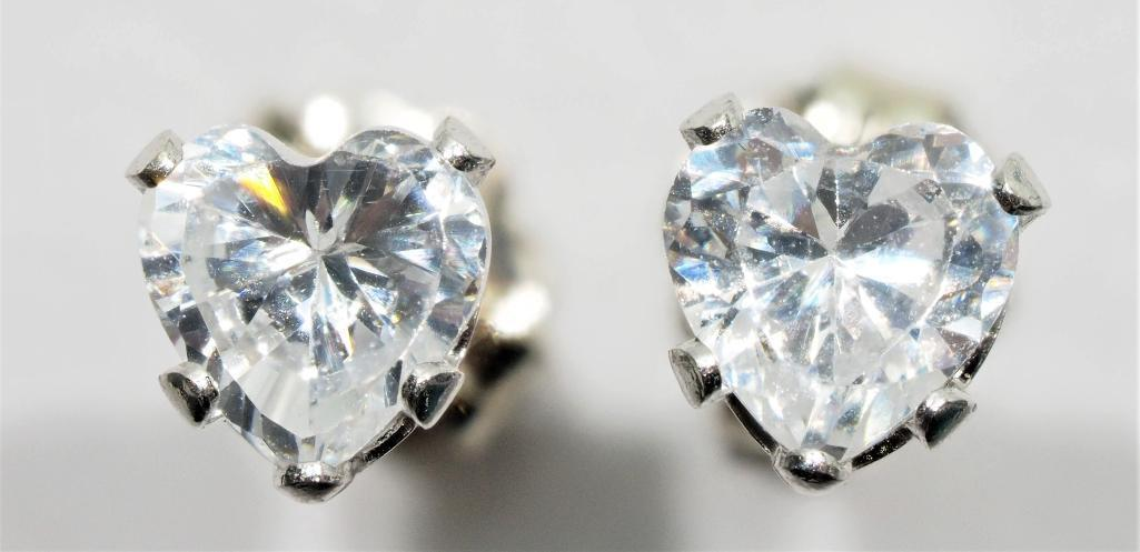 Lot 33 - 10Kt. Gold Set Earrings With Heart Shaped Cubic Zirconia, Retail $200