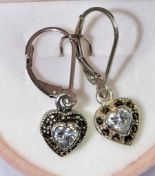 Lot 32 - Sterling Silver Heart Shaped Earrings With Cubic Zirconia Marcasite, Retail $120