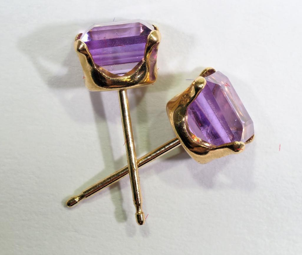 Lot 7 - 10 Kt. Gold Amethyst Earrings, Retail $240
