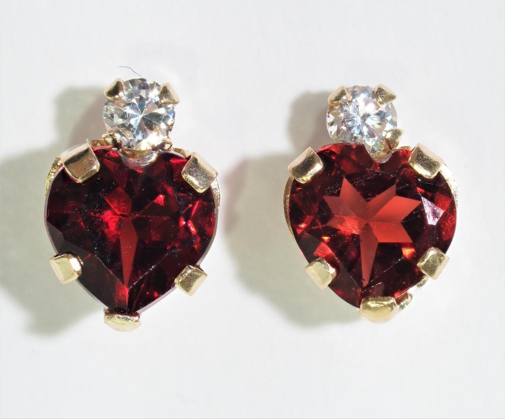 Lot 31 - 10Kt. Gold Earrings With Heart Shaped Genuine Garnet, Retail $240