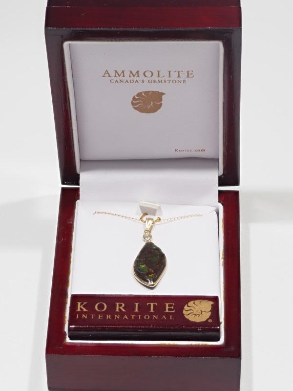 Lot 9 - 10K Yellow Gold Ammolite Diamond Pendant Necklace. Insurance Value $11890