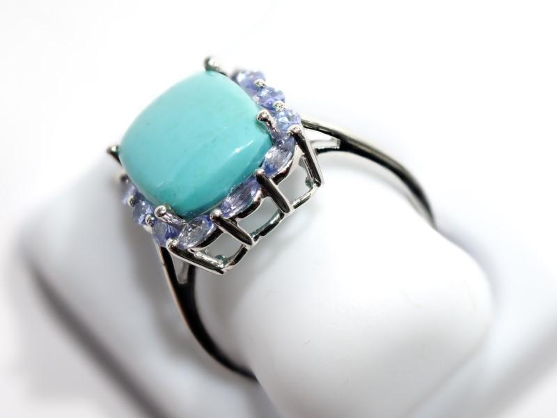 Lot 4 - Sterling Silver Turquoise and Tanzanite (2.40ct) Ring. Retail $200