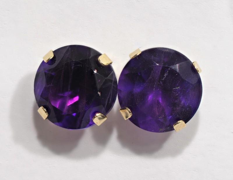 Lot 2 - 10K Yellow Gold Amethyst (Febuary Birthstone) Earrings. Retail $140