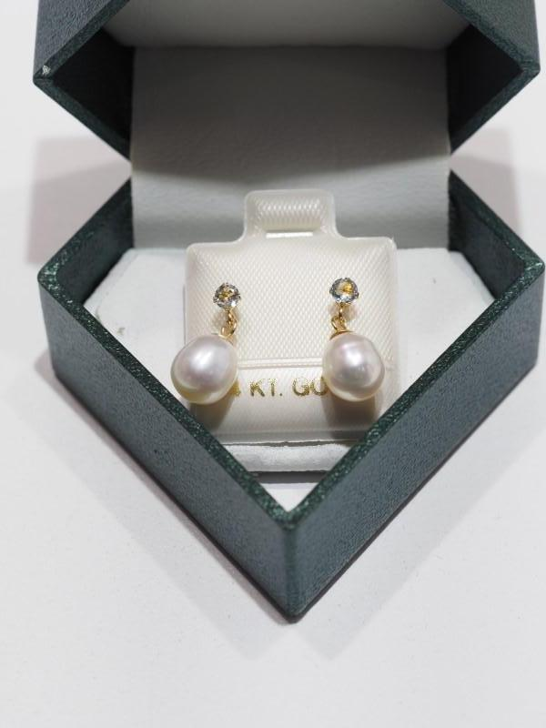 Lot 52 - 14K Gold Aquamarine (March Birthstone) with Freshwater Pearl Drop Earrings. Retail $240