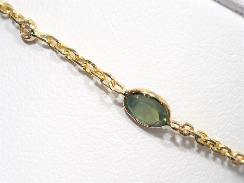 Lot 37 - 10K Yellow Gold 5 Alexandrite (1.9ct) Diamond (0.12ct) Bracelet. Insurance Value $2475