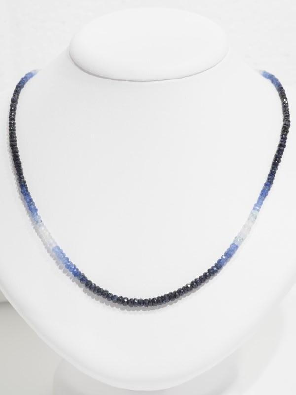 Lot 19 - 18K White Gold Clasp Graduated Colour Sapphire (40.0ct) Necklace. Insurance Value $4929