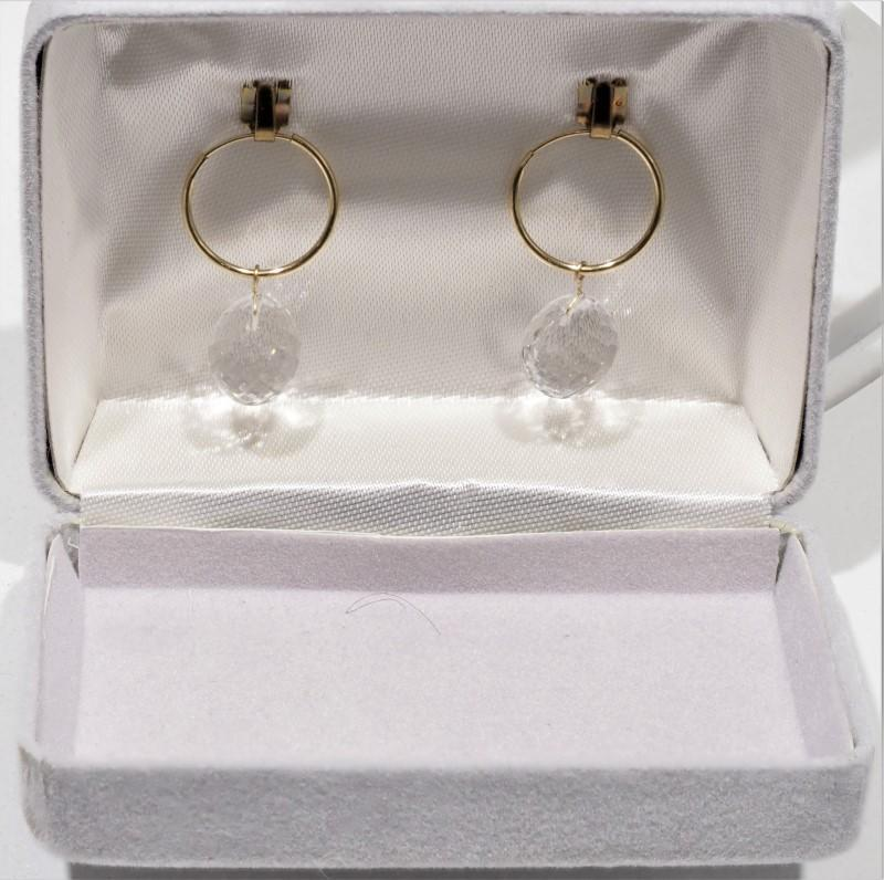 Lot 17 - 14K Yellow Gold White Topaz (16.4ct) Hoop Earrings. Retail $600