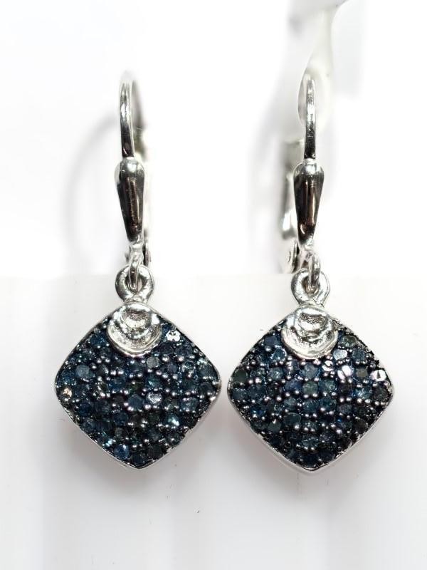 Lot 10 - Sterling Silver Blue Diamond (0.80ct) Earrings. Insurance Value $1040