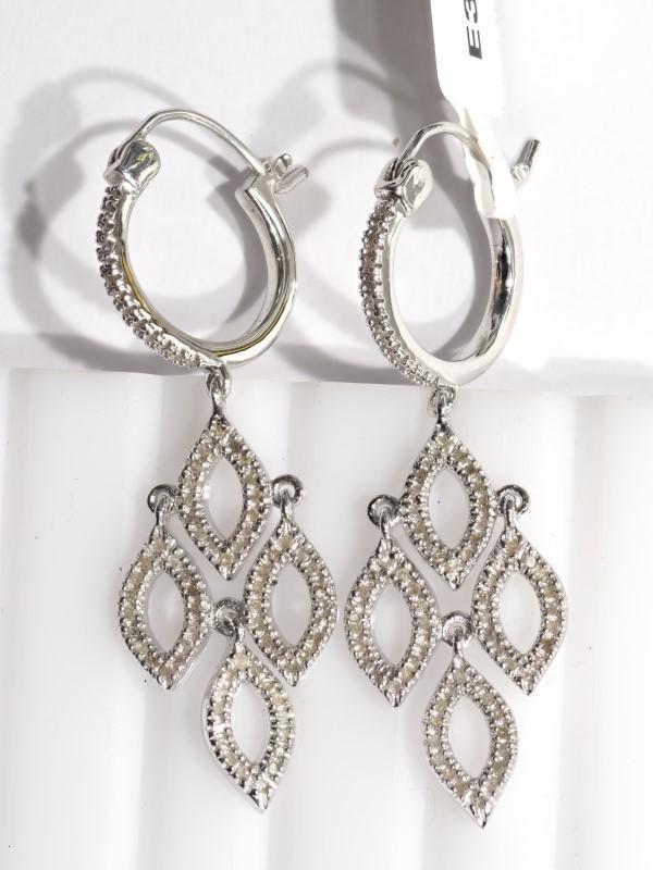 Lot 13 - Sterling Silver 154 Diamond (0.75ct) Drop Earrings. Insurance Value $700