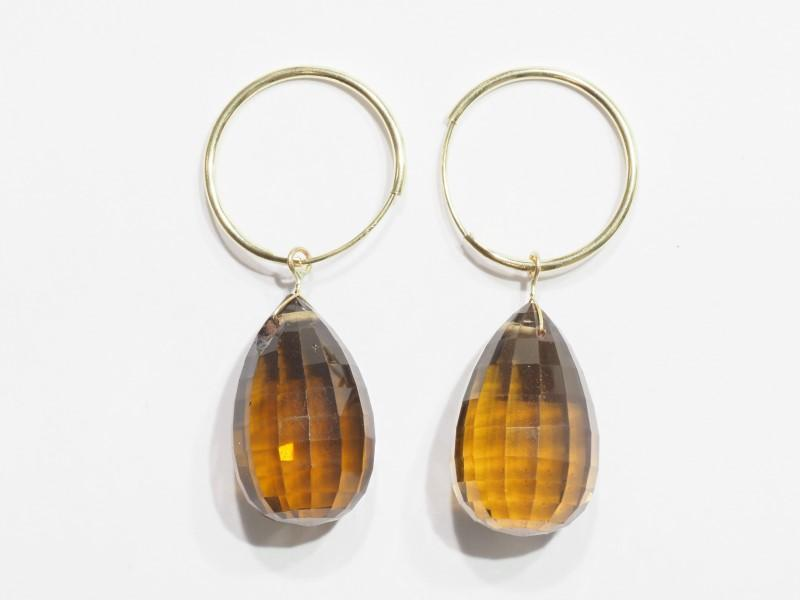 Lot 22 - 14K Yellow Gold Smokey Quartz Briolette Hoop Earrings. Retail $600