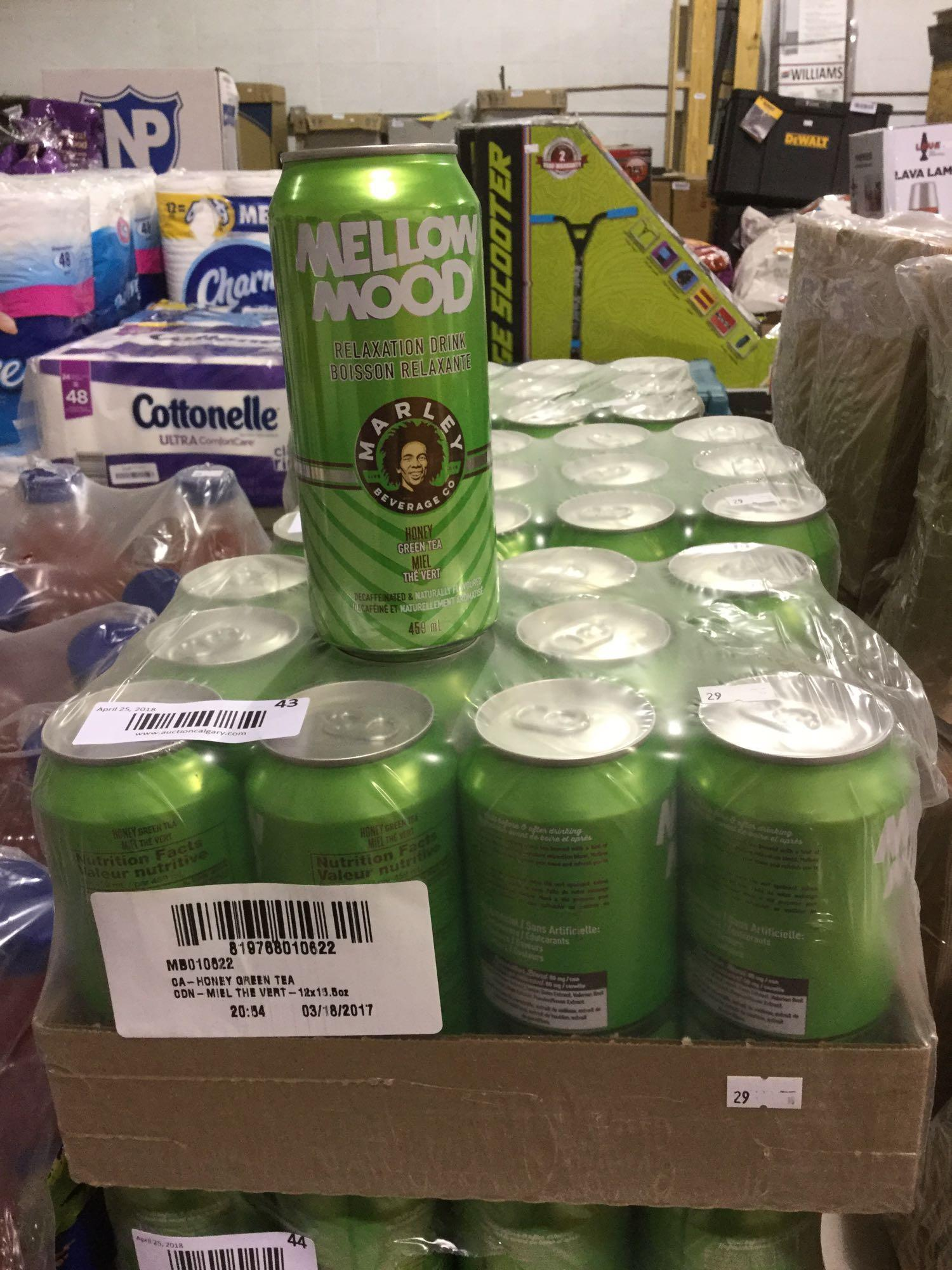 Lot 39 - Case of 12 x 459 mL Mellow Mood Relaxation Drink - Marley Beverage Co. - Honey Green Tea