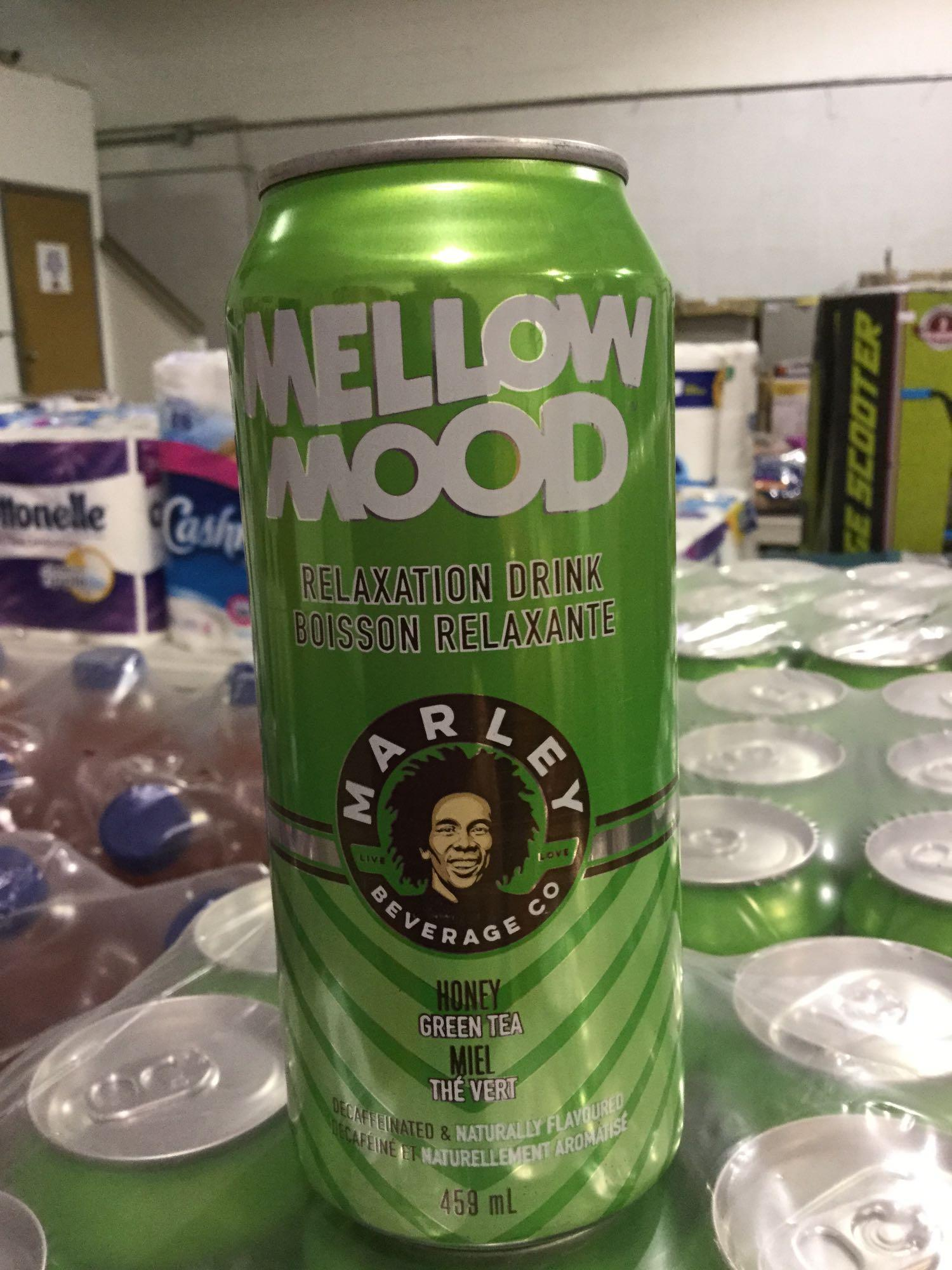 Lot 40 - Case of 12 x 459 mL Mellow Mood Relaxation Drink - Marley Beverage Co. - Honey Green Tea