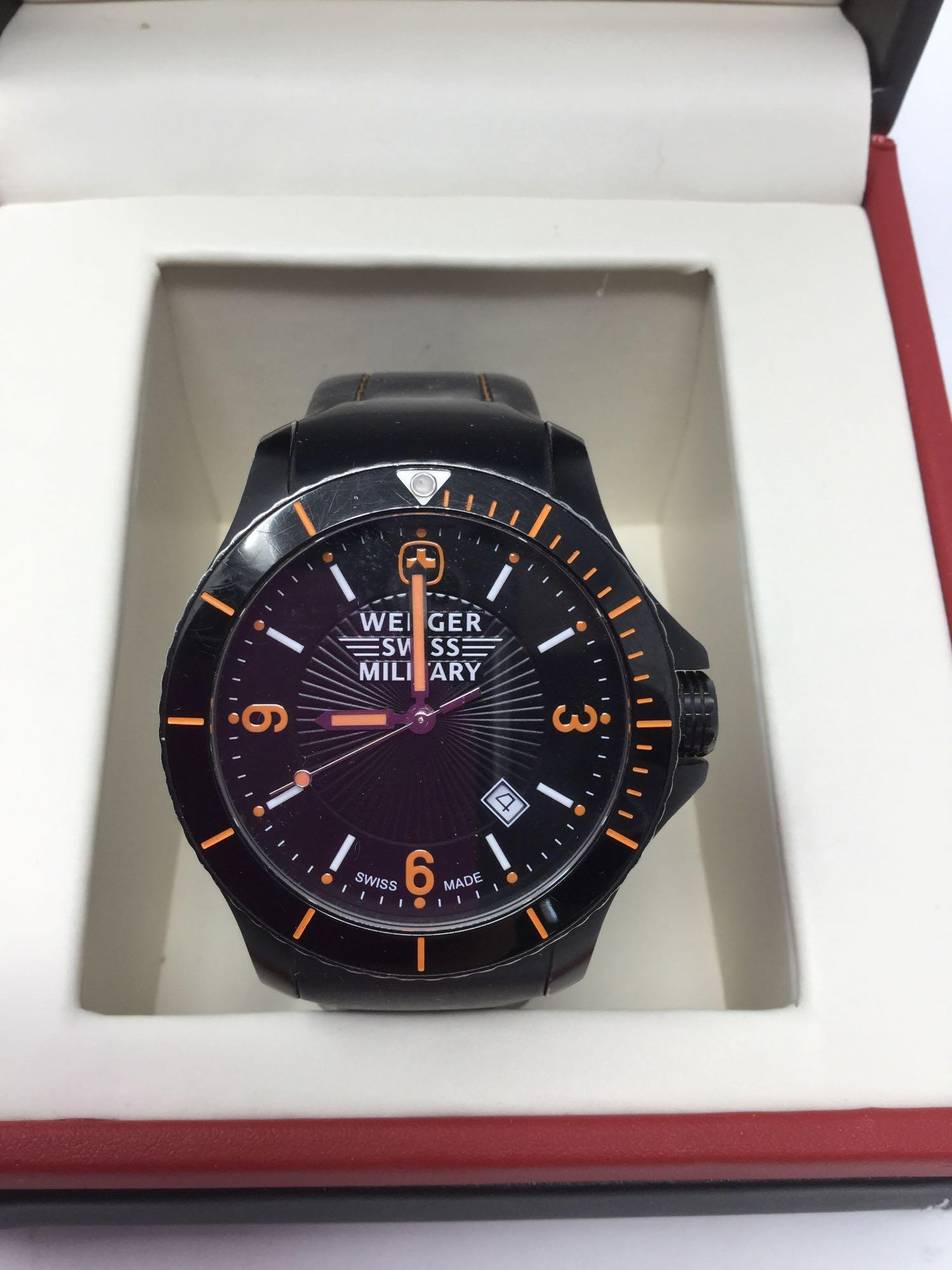 Lot 19 - Wenger Swiss Military Watch with Case - Black face with orange hands