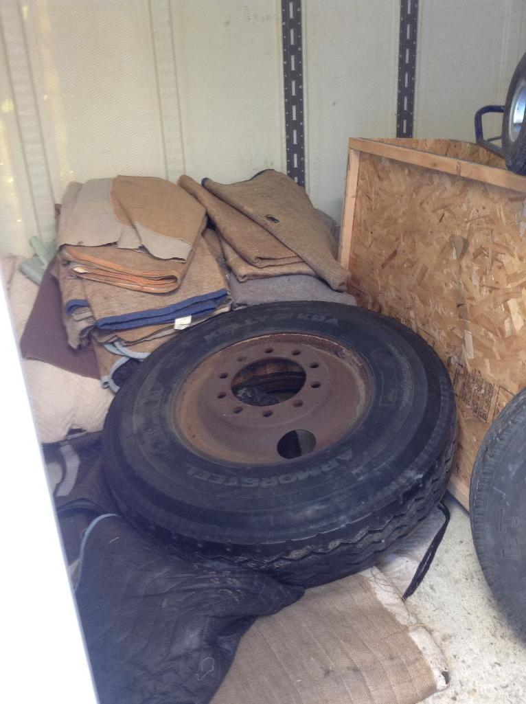 Lot 106 - Storage Container ( 8x9x10 approx) includes contents of assorted moving supplies & accessories
